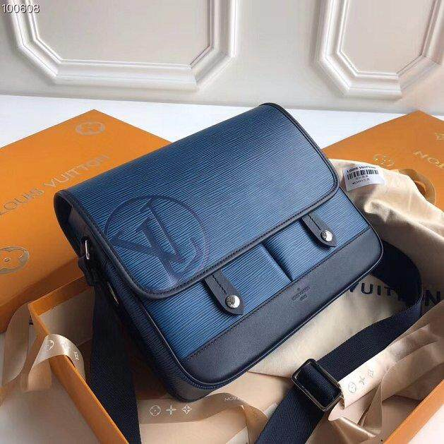 Louis_Vuitton Original_LV Bag Epi Leather Messenger Bag Pm M53494 Navy Blue Size:29*26*8cm