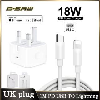 C-SAW Original Của Apple Sạc Nhanh 18W PD USB Loại C Đến Sét Cáp Power Adapter Sạc Phù Hợp Với EU US UK Cắm Sạc Cho iPad Mini Pro Không Khí iPhone 12 11 Pro Max 12 Mini XR X XS max 8 7 6 6S Cộng Với thumbnail