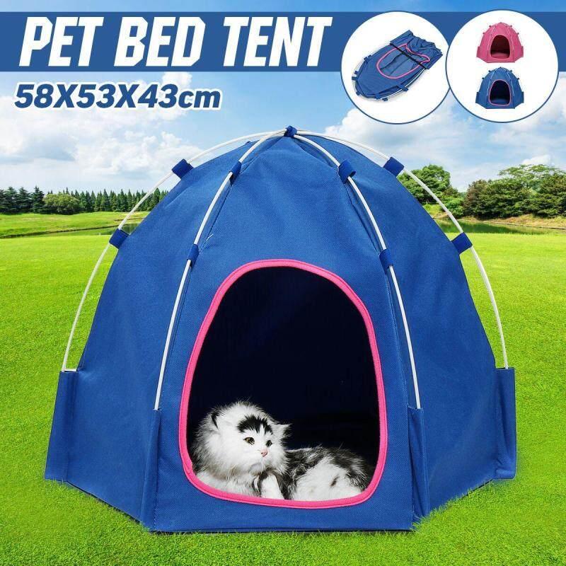 Mèo Cưng Có Thể Gập Lại Lều Cho Chó Nhà Ngoài Trời Cũi Ngủ Động Vật Cún Con Lồng Lồng Cắm Trại-Màu Xanh