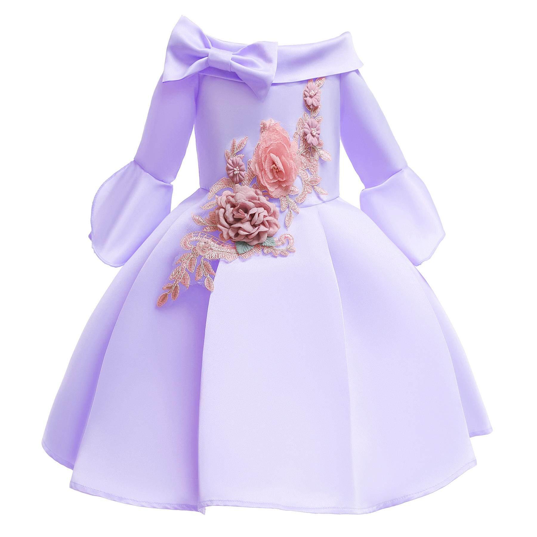 Giá bán Trẻ em Bé Gái Dự Tiệc trang trọng Phối Lưới Thời Trang tay Dài Thắt Nơ Áo thêu Đầm Công Chúa các bạn nữ Tuổi Teen quần áo