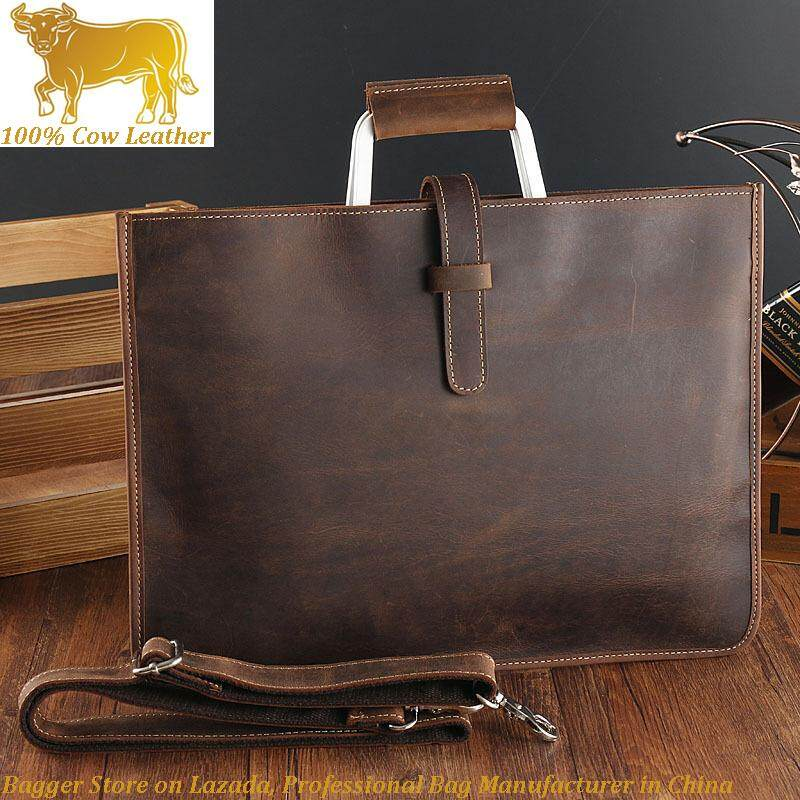 Crazy Horse Leather Men Briefcase Europe Retro Handbag Shoulder Bag Business Casual By Bagger.