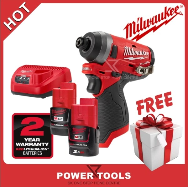 MILWAUKEE M12 FUEL™ 1/4 M12FID-632C Hex Impact Driver (Tool Only) Bare Tools (battery charger not include)(Free Mystery Gift)