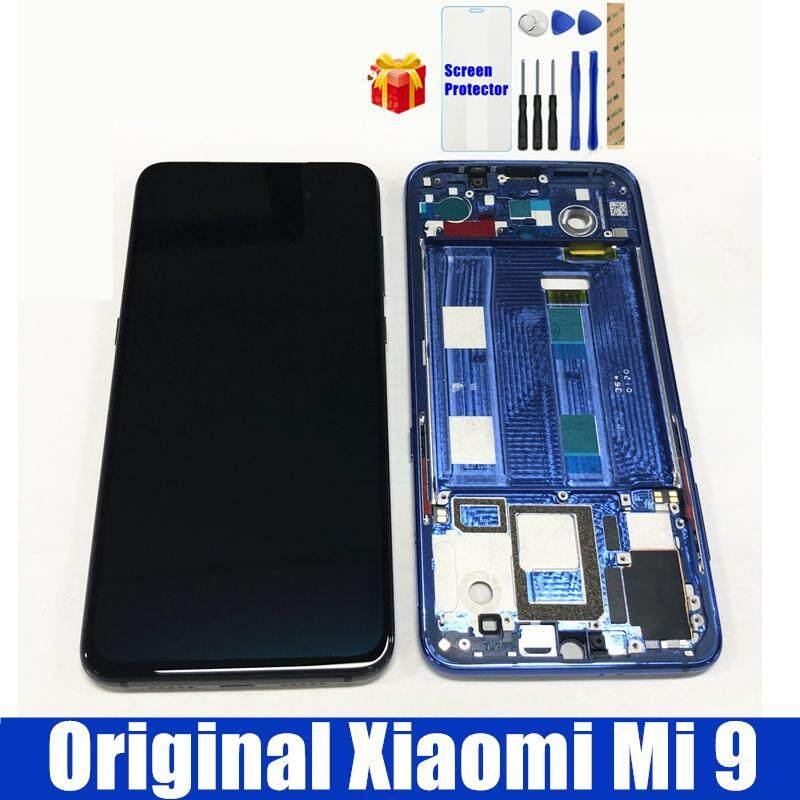 Asli untuk Xiaomi Mi 9 Layar LCD dengan Bingkai 10 Layar Sentuh Panel untuk Xiaomi Mi9 Super AMOLED Digitizer LCD Asembbly Penggantian Bagian Perbaiakan Cadangan + Kaca Antigores + Perbaikan Alat Alat