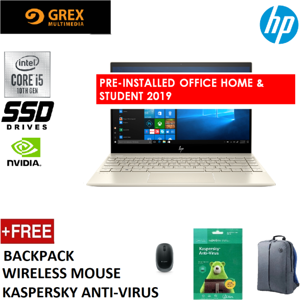 HP ENVY 13-AQ1068TX LAPTOP SILVER (I5-10210U,8GB,512GB SSD,13.3 FHD,GEFORCE MX250 2GB,WIN10) FREE BACKPACK + KSPSKY ANTI-VIRUS +LOGITECH WIRELESS MOUSE + PRE-INSTALLED OFFICE H&S 2019 Malaysia