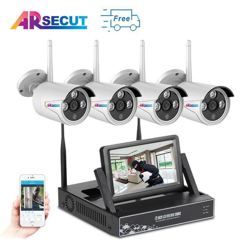 ARSECUT Plug And Play 7 LCD Screen 4CH Wireless NVR Kit 960P HD Outdoor Waterproof CCTV Security Camera