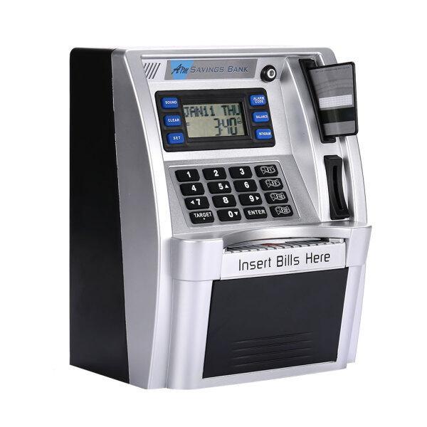 ATM Piggy Bank ATM Hộp Tiền Trẻ Em Máy Tính ATM Tiết Kiệm Ngân Hàng Bạc Với Màn Hình LCD Trang Chủ Mật Khẩu Hộp