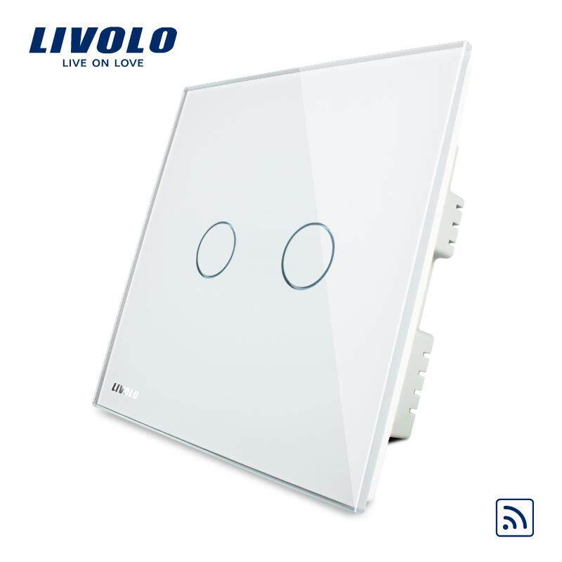 LIVOLO UK Standard 2 Gang 1 Way wireless light  Switch, Ivory White Crystal Glass Panel, AC 220-250V ,3 Color without remote control