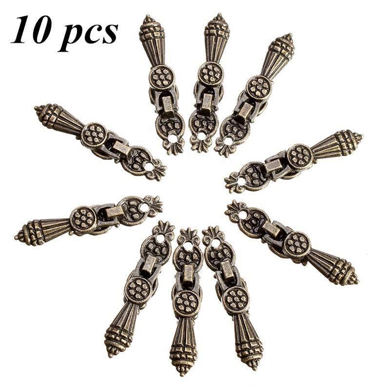 10PCs Jewelry Wooden Box Pull Handle Drawer Knobs Antique Bronze Flower 5.2cm x1.1cm