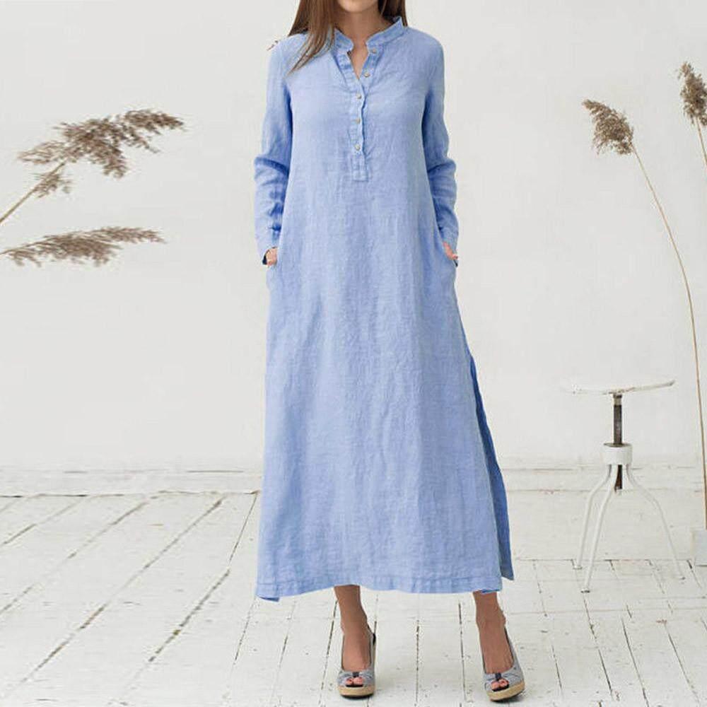 4b143a79bdb Pikaqius99 Women s Kaftan Cotton Long Sleeve Plain Casaul Oversized Maxi  Long Dress ...