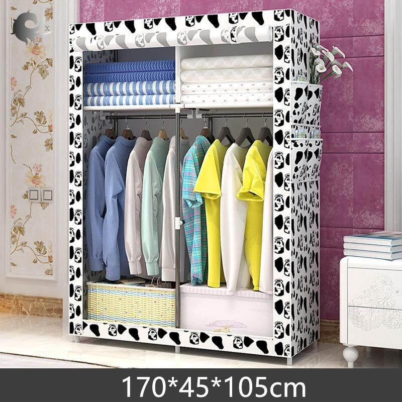 Home cloth wardrobe, wardrobe, fabric, steel frame assembly, storage closet, dustproof, folding, locker, dormitory, bedroom, high quality non-woven material (105*45*170cm)