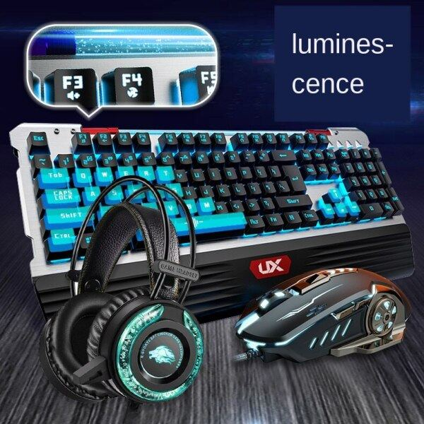Baixin 3 In 1 Wired Mouse, Keyboard, Headset, Gaming, Three Pieces of Water-cooled Tube Glowing 3. 5mm Noise Canceling Microphone Headset Malaysia