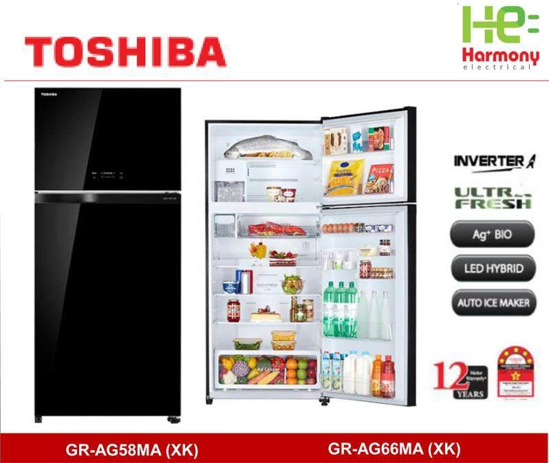 New : Toshiba 610L 2 Doors Duo Hybrid Inverter Refrigerator With Ag+ BIO Deodorizer GR-AG58MA (XK) ( 12 years Compressor Warranty )