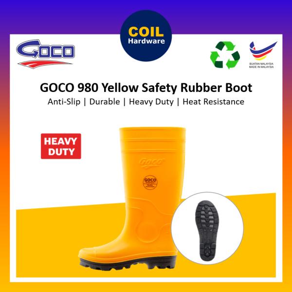 🟡GOCO 980 Yellow Safety Rubber Rainboot  Boot 38# - 44# / Safety Shoes / Kasut Getah Kuning / Kasut Boot Getah