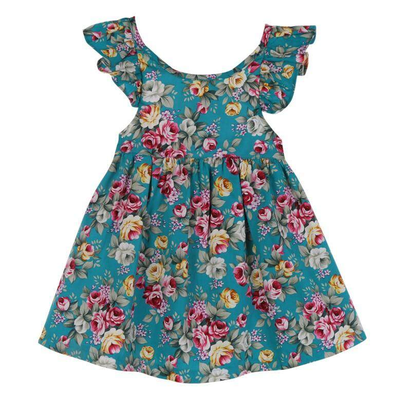 4335210bd6d7e Summer Baby Girl Casual Flying Sleeve Cotton Floral Print Dress Briefs  Shorts Outfits Set