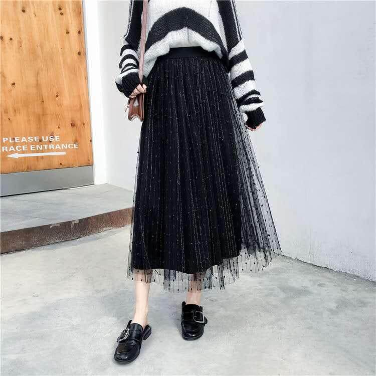 2db96fbb322 2019 new Plus Size Korean Long Tulle Skirt Ruffles Women Skirt Beading  Printed Casual Pleated Mesh