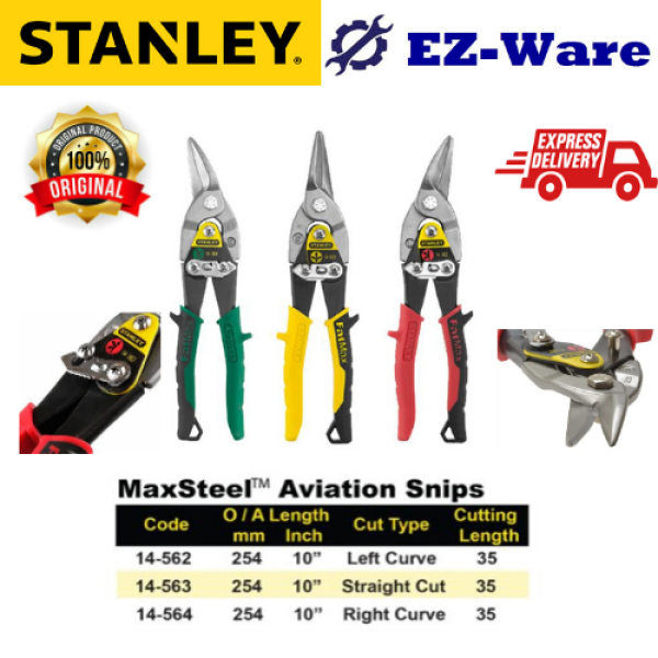 (100% Original) STANLEY Fatmax 10 Aviation Snips Straight Cut 14-562/14-563/14-564
