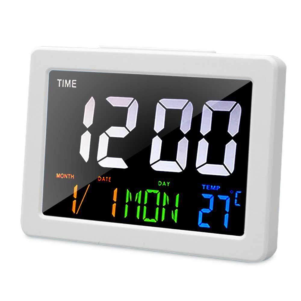 GoodGreat Large Color Screen Digital Alarm Clock Desk Clock Show Date, Week, Temperature, Time, 24 Hour Formats,for Office, Bedroom, Living Room, Kitchen