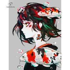 [Miễn Phí Vận Chuyển + Giá Xuất Xưởng] Khoan Tròn Toàn Bộ Tranh Đính Đá Tự Làm 5D, Hình Ảnh Cô Gái Anime Của Rhinestone