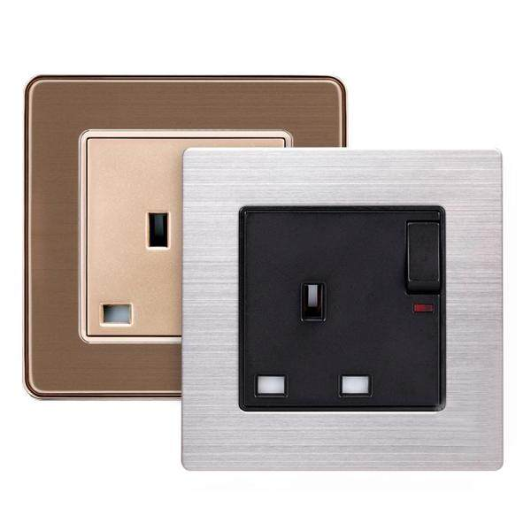 Avoize【COD】【 Free Shipping】Standing Style 13A UK Standard Switched Socket With Neon Luxury Wall Power Outlet for Residential General-Purpose