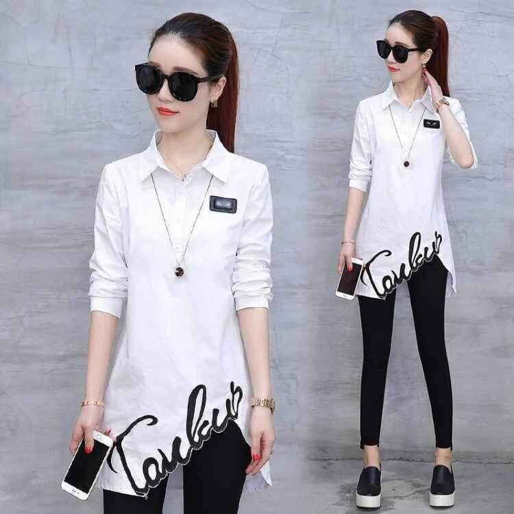 Large Size Womens Spring And Autumn Slim Thin Embroidered Shirt Womens Shirt By Likemy.