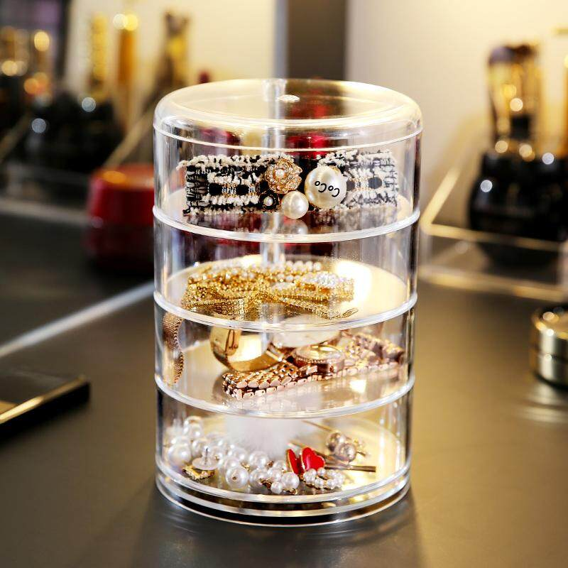 4 Layer Clear Acrylic Cosmetic Organizer Box Jewellery Make-Up Storage Organizer By Dat Store.