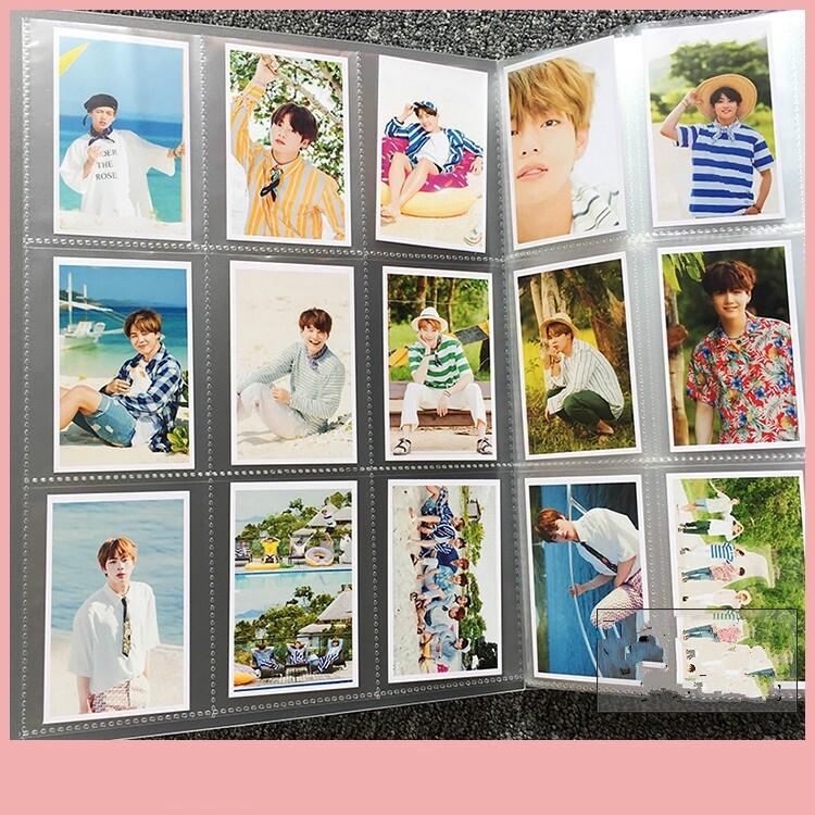 Trong Suốt Chèn Album Ảnh 9 Lưới Trong Suốt 144 Khe Cắm Cho 288 Chiếc Thẻ Ảnh Thẻ Lomo Kpop BTS EXO Blackpink Người Hâm Mộ