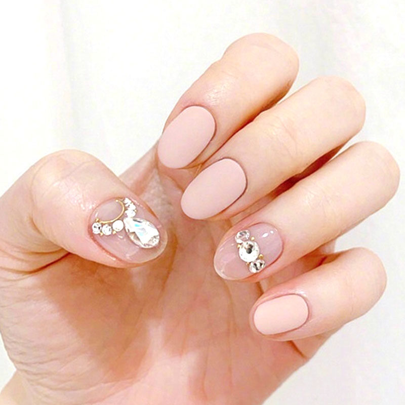 New High Quality Women's Full Cover False Nail Fashion Pink Gray Color with Shiny Rhinestone Round Head Artificial Nail