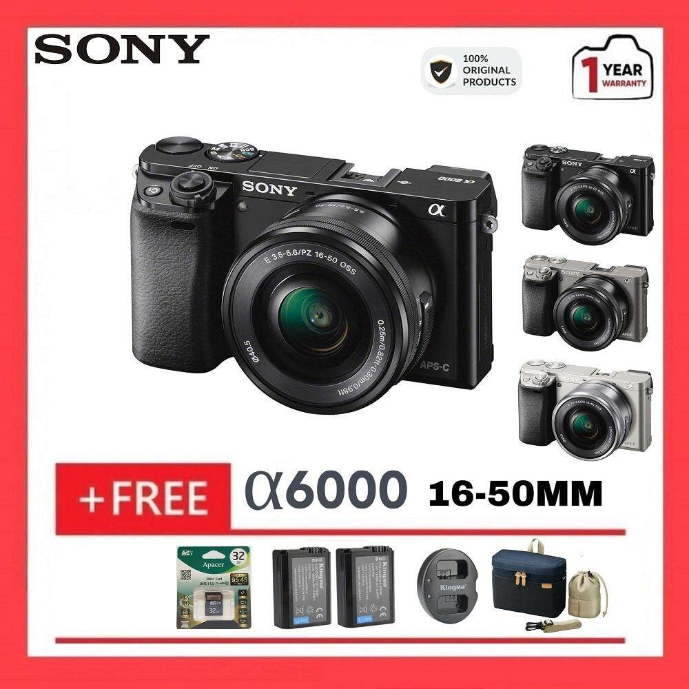 Sony Alpha a6000 Mirrorless Digital Camera with 16-50mm Lens (FREE 32GB Memory Card + Extra 2pcs Battery + Dual Charger + Camera Bag)