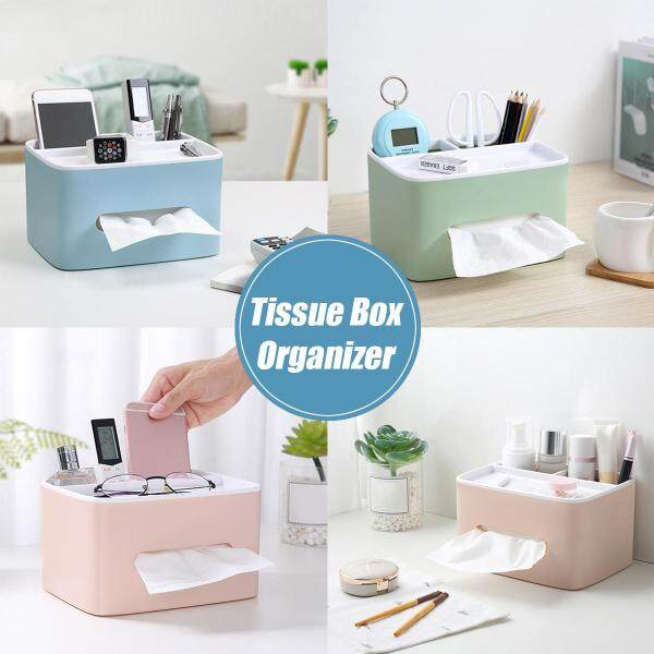 [205*155*115mm] Tissue Box Cover Table Napkin Paper Case Car Holder Storage Organizer(Blue, Green, Pink)
