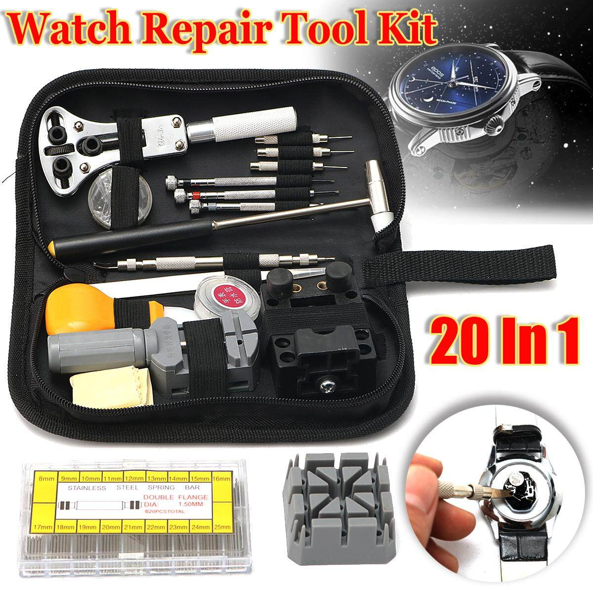 380pcs Watch Repair Tool Kit 8mm~25mm Spring Bars Strap Pins Link Remover Wrench By Teambest.