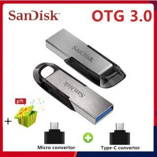 Readystock + Miễn Phí + COD SanDisk USB OTG 3.0 128GB Ổ USB Flash Ổ USB Nhỏ Siêu Sự Tinh Tế Ổ USB Nhỏ 64GB 32GB 16GB Memoria Dính Miễn Phí Micro & TypeC Chuyển Đổi thumbnail