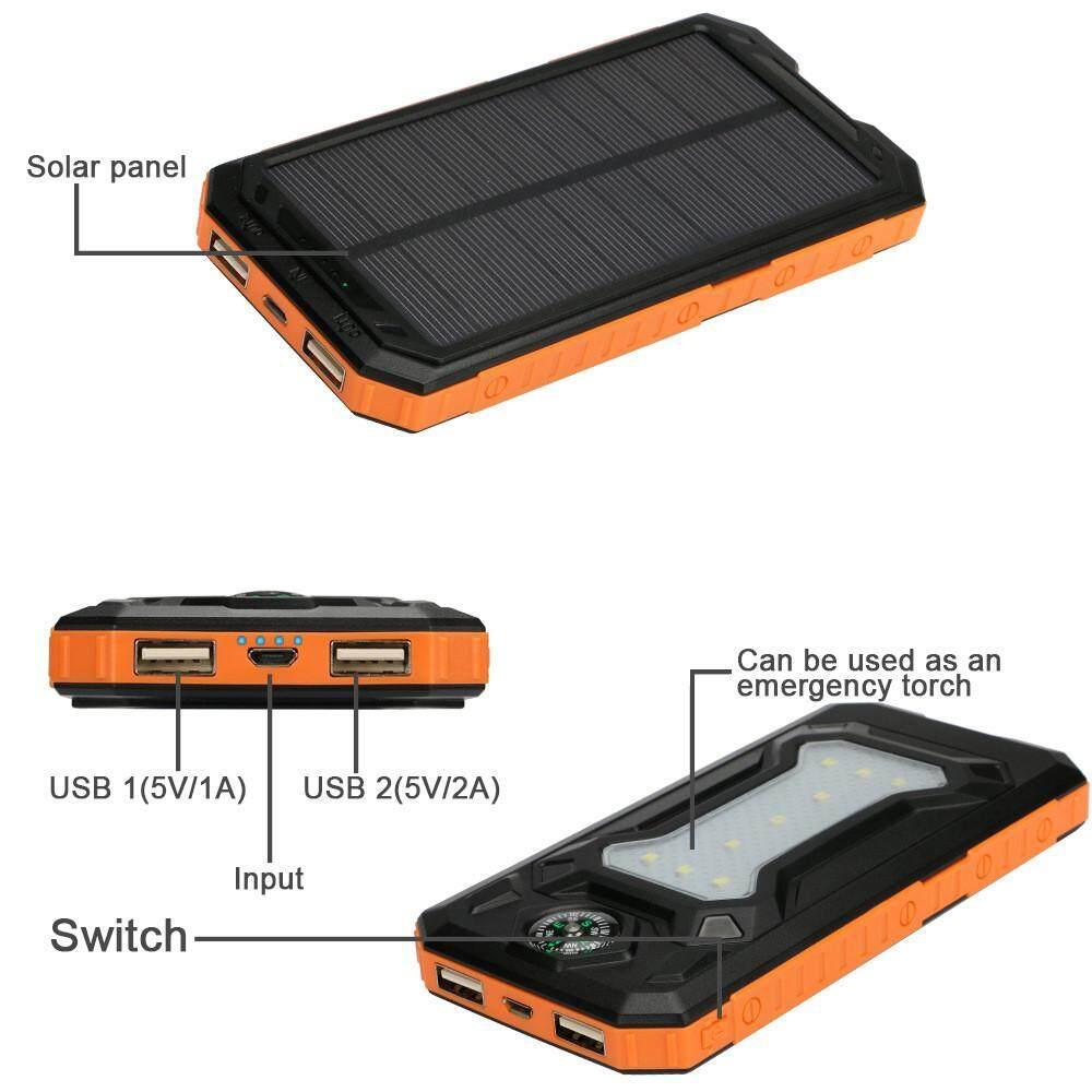 1pcs 500000mah Solar Power Bank Double Usb Solar Charger External Battery Portable Charger Battery Charger Cases For Smart Phone Battery Charger Cases