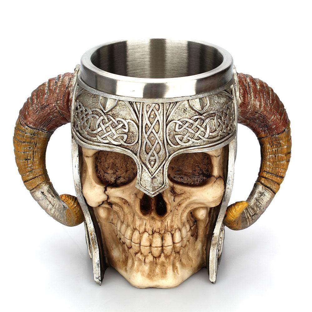 Viking RAM Sừng Đầu Lâu Cốc Quỷ Sừng Hố Chúa Chiến Binh Thép không gỉ Cốc Tập Uống Bia Trà Stein Ly Bia Tankard Cốc Cà Phê Sữa cốc Quà Tặng