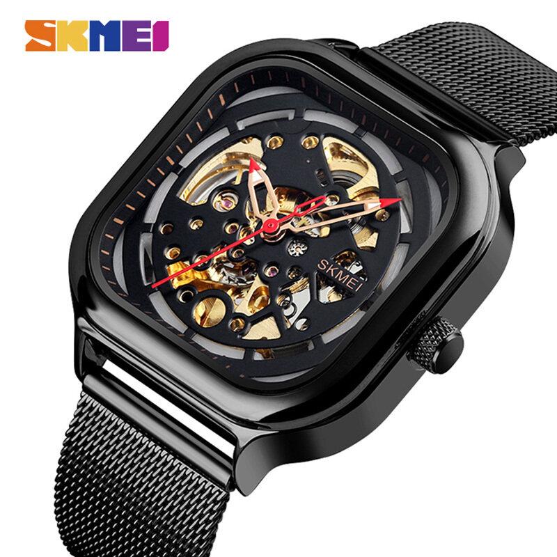 SKMEI Đồng hồ đeo tay cơ tự động bằng thép không gỉ chống thấm nước, phong cách thời trang giản dị thích hợp mang hàng ngày dành cho nam - INTL