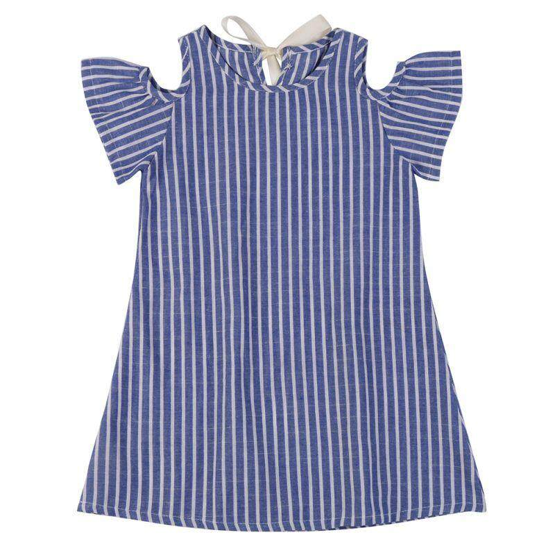 c12eefc5c74b Baby Girl Summer Flare Short Sleeve Striped Dress Hot Kid Children Mini  Princess Korean Fashion Thin