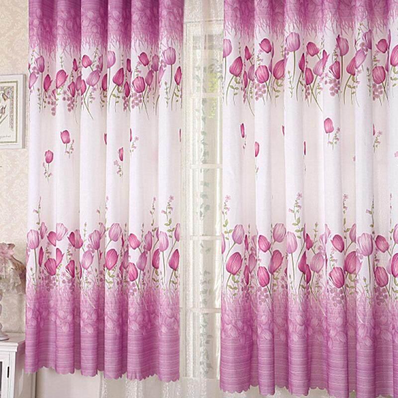 Trang Chủ Hiện Đại Cửa Sổ Phòng Khách Hoa Văn Hình Hoa Tulip Rèm Màu Tím