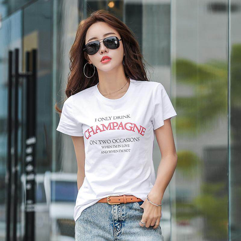 4f2070ae67c2 Women's T-Shirt Relaxed Letter Printed Short-Sleeve Crew neck Summer Casual  Slub Texture