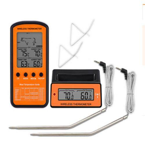 Wireless Lcd Remote Dual 2 Probe Meat Thermometer Set For Bbq Smoker Grill Oven By Moonbeam