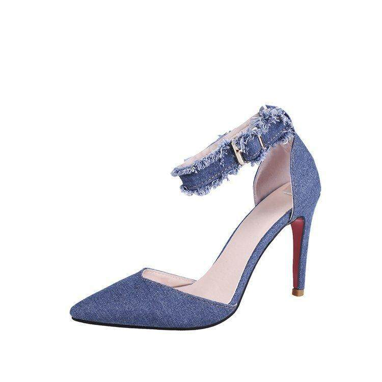 Spring And Summer Korean Version Of Fashion With Denim Hair Edge Shallow Shoes High Heels Hollow Pointed Sandals By Jewshop.