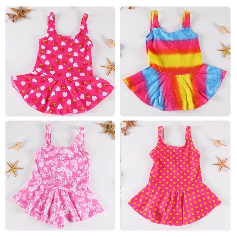 Baby Girl One Piece Swimsuit Floral Print Swimwear Dress Sunsuit Summer Beachwear Outfit By Babyqt.