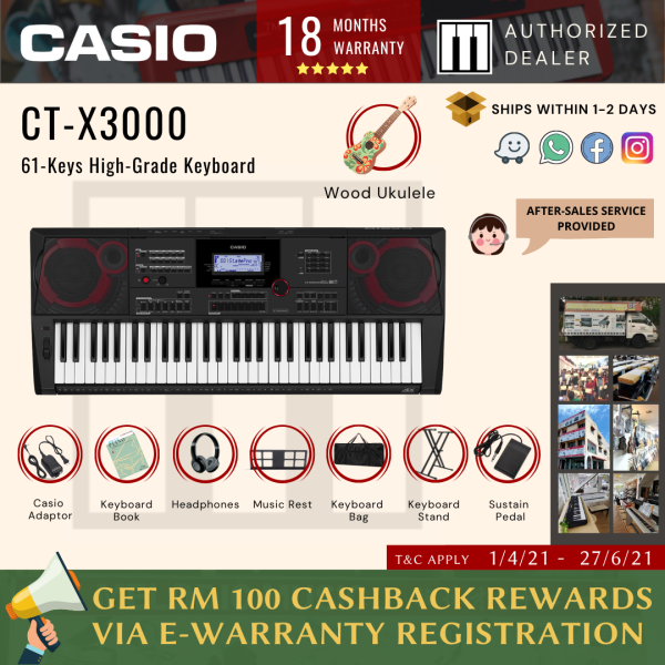 Casio CT-X3000 61-Keys Electronic Keyboard BASIC with Stand, Bag, Book, Headphones, Pedal and Ukulele (CTX3000 / CTX 3000 / CT X3000) Malaysia