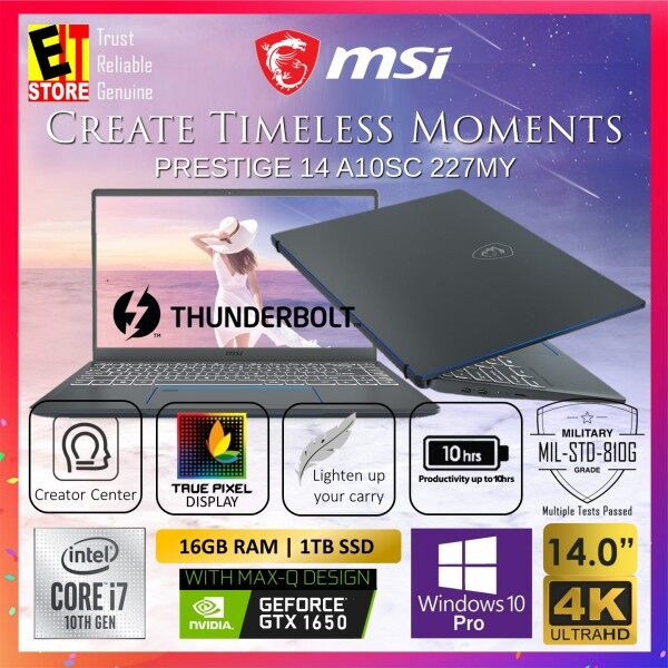 MSI PRESTIGE 14 A10SC 227MY CREATION LAPTOP -CARBON GREY (I7-10710U/16GB/1TB SSD/14 UHD(4K)/4G GTX 1650 MAX-Q/W10 PRO/2YR INTERNATIONAL) + GIFTBOX Malaysia