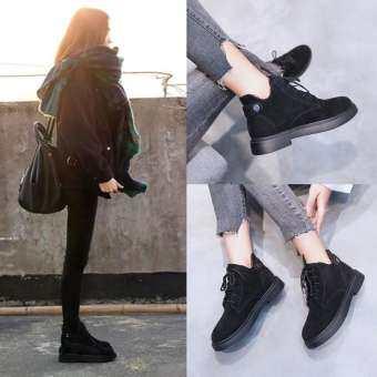 RUSHSKY ผู้หญิงแฟชั่นบูทเกาหลีรองเท้าบูท Martin PLUS Plus กำมะหยี่บูทเด็กหญิงรองเท้า