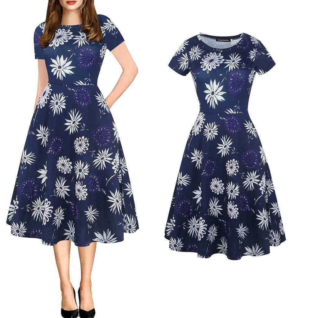 a1db4118d40ea GUO Fashion Womens Vintage Puffy Swing Print Casual Party Dress