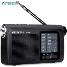 Retekess Tr605 AM FM Được Vận Hành Đài Phát Thanh Bóng Bán Dẫn Sóng Ngắn Di Động Với Đèn Pin Khẩn Cấp LED Giắc Tai Nghe (Đen)