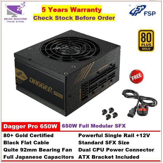 #FSP Dagger Pro 650W 80+ Gold Single Rail Full Modular SFX Gaming PSU (ATX  Bracket Included)#