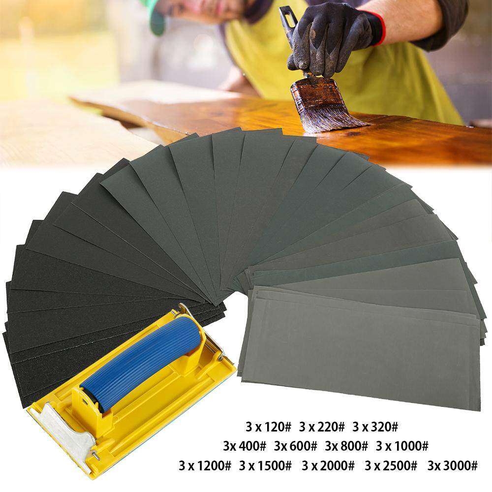 Sandpaper Set 120 to 3000 Grit Sandpaper Dry Wet Range for Automotive Sanding Woodworking and Wood Turning 9 x 3.6 inches