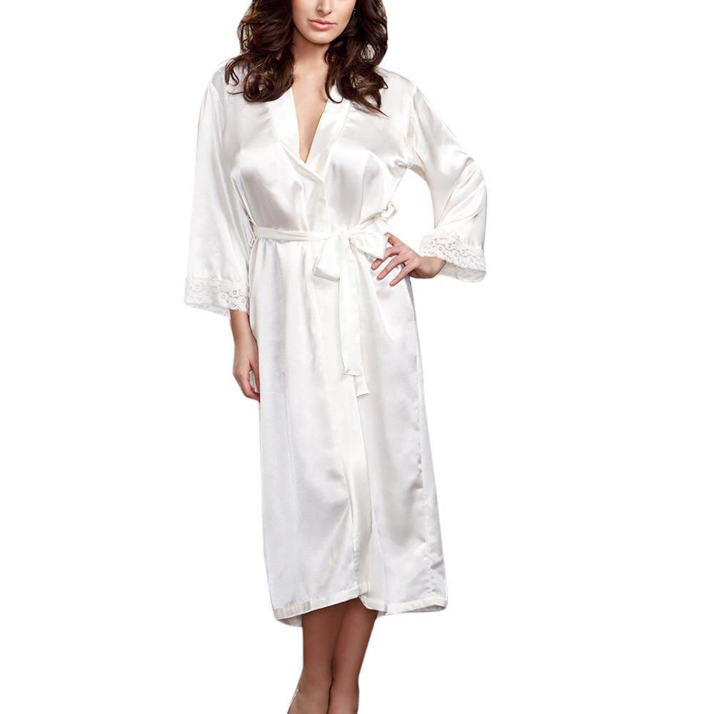 dbca6ad069 Lingerie Sleep Robes Women Sexy Long Silk Kimono Dressing Gown Babydoll  Lace Lingerie Bath Robe