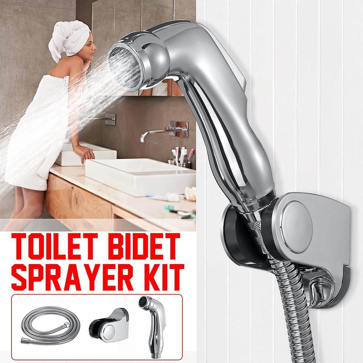 Handheld Bathroom Toilet Bidet Shattaf Shower Spray Head 200cm Hose Holder Stand