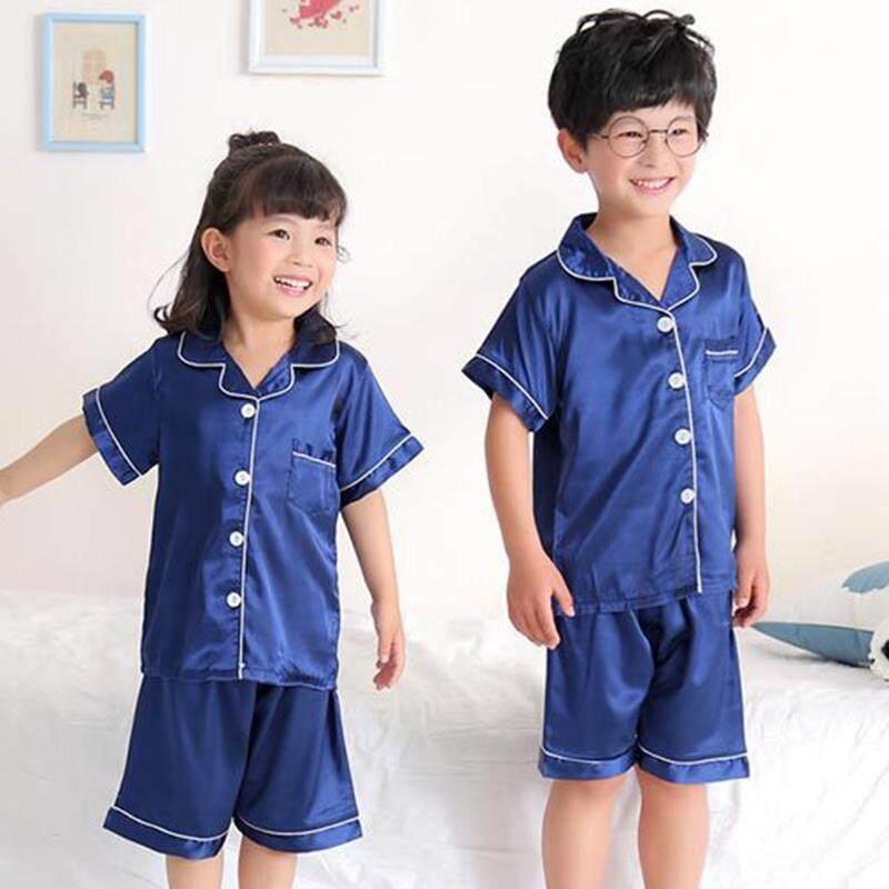 Nơi bán Trẻ em Bé Trai Bé Gái Váy Ngủ Giả Lụa Ngắn Pyjama Set Đồ Ngủ Chắc Chắn